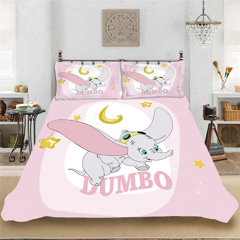 Cartoon Pink Dunbo Elephant Baby Girls Bedding Set Soft Bedclothes Include Duvet Cover Pillowcase Print Home Textile Bed Linens