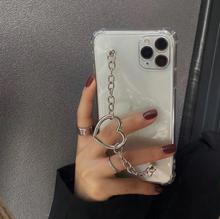 INS moda serce łańcuch etui na telefony dla iphone 12 Mini 11 Pro Max 7 8 6 6 plus X XR XS SE 2020 wyczyść ochrony pokrywa miłość bransoletka tanie tanio CN (pochodzenie) Apple iphone ów Iphone 6 Iphone 6 plus IPHONE 6S Iphone 6 s plus IPhone 7 IPhone 7 Plus IPHONE 8 PLUS
