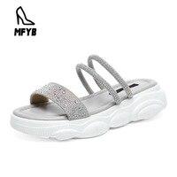 MFYB Women's sandals 2019 summer new panda bottom women's shoes open toe rhinestones wear women's casual sandals