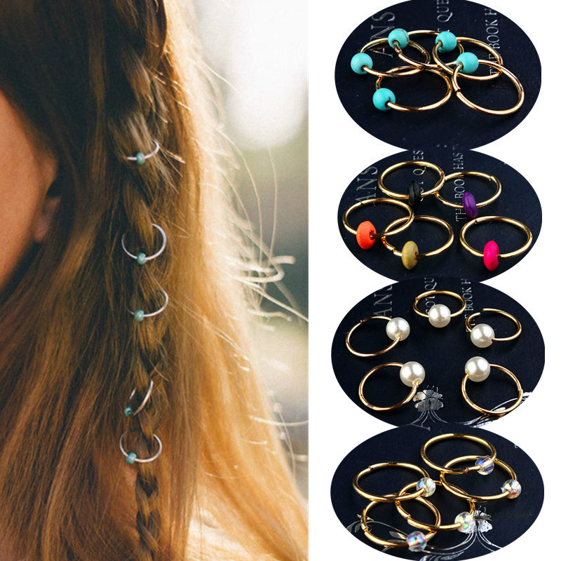 5 Pcs/set Natural Stone Pine Colorful Wooden Pearl Hair Accessories Hair Ring Hip-hop Hair Accessories Braid Braided Hair Tool