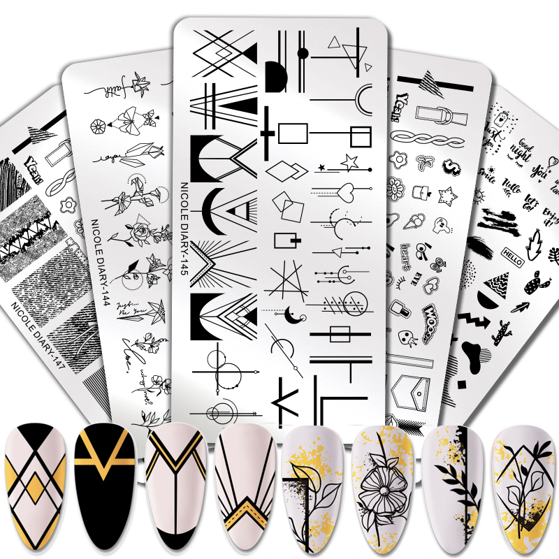NICOLE DIARY Geometric Design Stamping Plate Flower Stainless Steel Nail Art Image Stamp Stencils Marble Snake Print Template