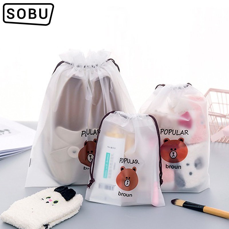 Bear Transparent Cosmetic Bag Travel Makeup Case Women Zipper Make Up Bath Organizer Storage Pouch Toiletry Wash Beaut Kit H107
