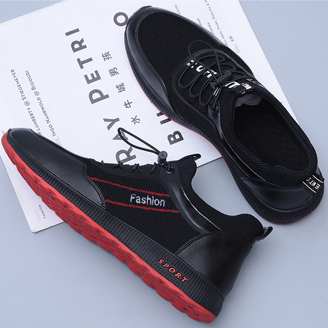 Men Shoes Flats Sneakers Casual Men's Shoes Mesh Lace Up Breathable Sneakers Flat Plus Size