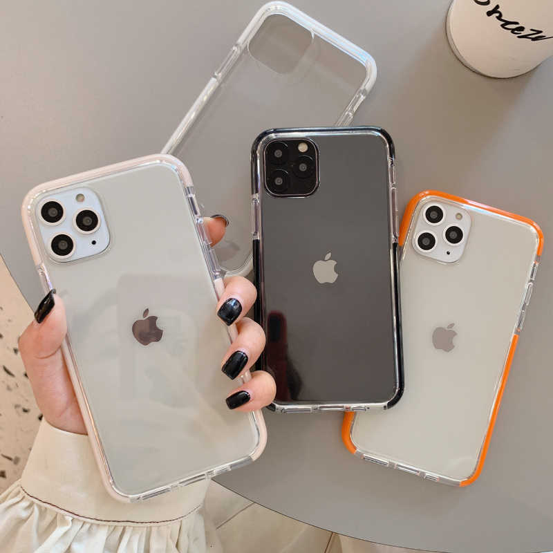Shockproof Permen Warna Bingkai untuk iPhone 11 11Pro Max XR X X X MAX 7 8 6 6S Plus Lembut Transparan Back Cover Capa