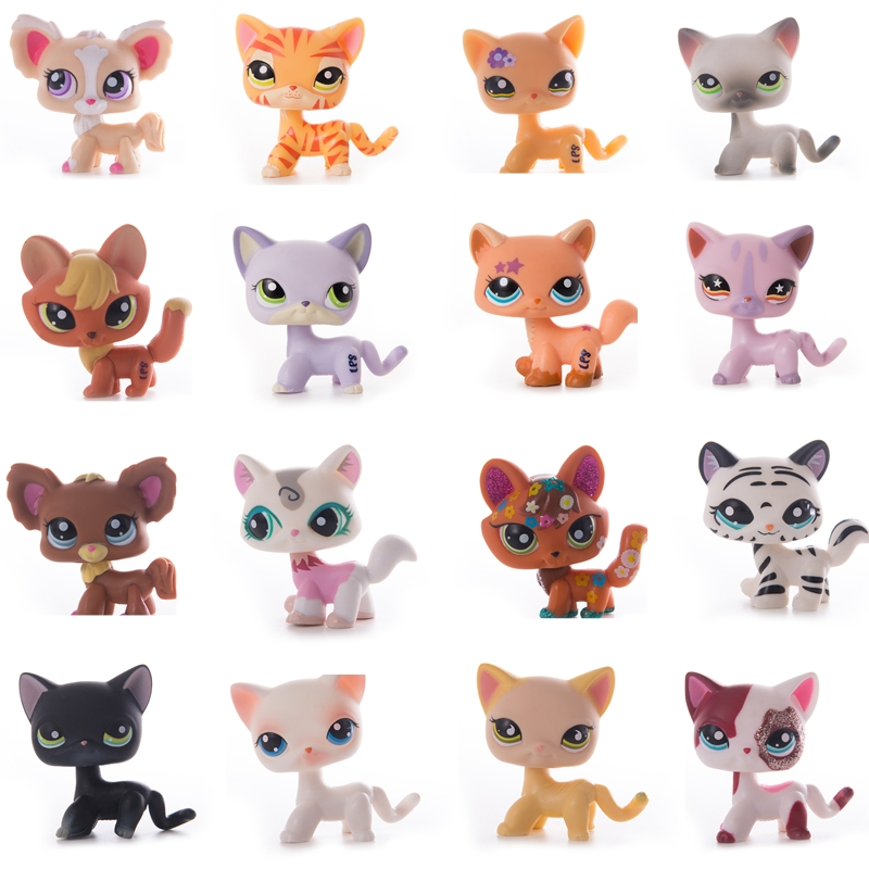LPS Pet Shop Pink Short Hair Cat Toy Dachshund Collie PVC Action Station Figure Toy Cosplay Doll Model Children's Toy Gift