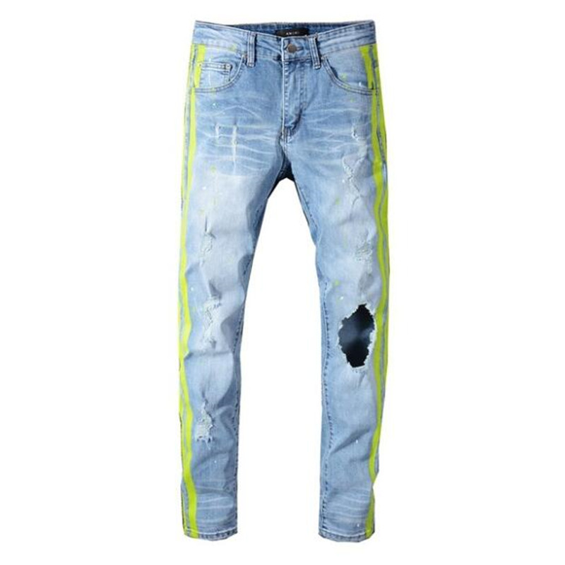free delivery 2020 New Men's neon yellow color lines patchwork ripped jeans Fashion holes destroyed denim stretch pants