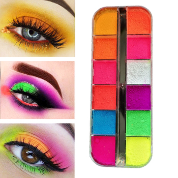 12 Colors/Box Fluorescent Neon Pigment Eye Shadow Makeup Palette Glitter Shimmer Eyeshadow Face Body Nail Art Cosmetics Tools 1
