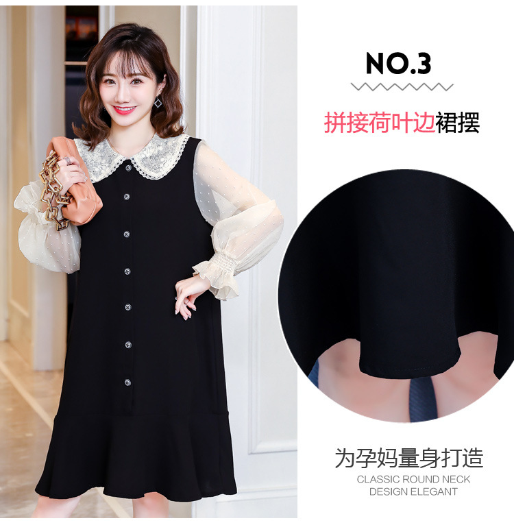Cotton Spring Dress for Pregnant Women Maternity Summer Clothes for Pregnancy Black Pregnant Dress (8)
