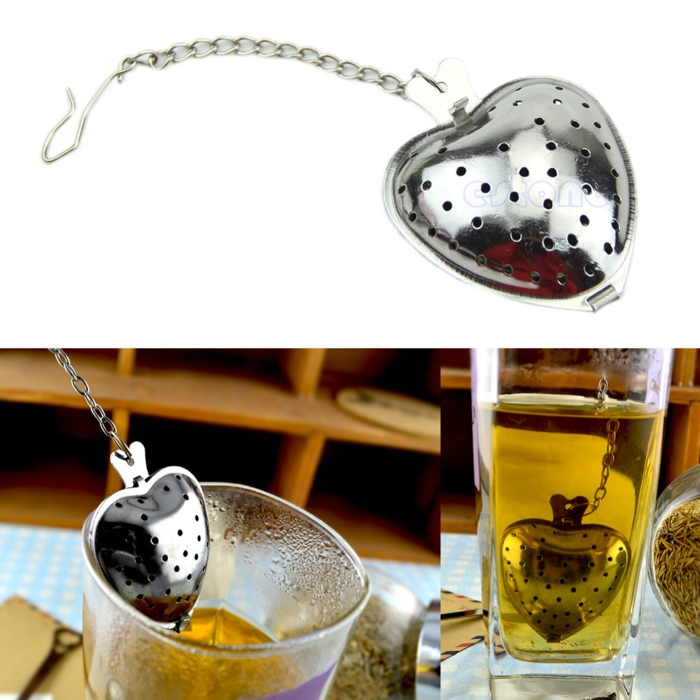 Heart Shaped Tea Infuser Stainless Steel Strainer Filter Chain Love Gift Hot
