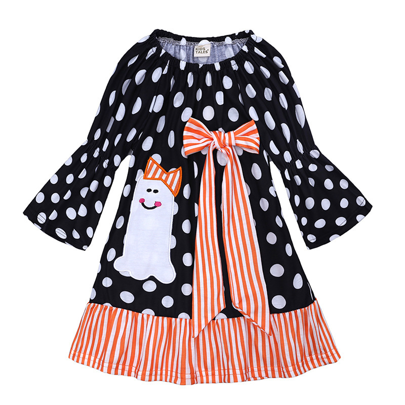Bohemian Style Girls Dress Halloween Cosplay Kid Clothes Black Dots Bow Tie Dresses Carnival Role Play Girl Prom Gown Costume in Dresses from Mother Kids