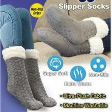 Новые женские носки, мягкие толстые флисовые теплые Нескользящие тапочки, домашние носки для пола для кровати, зимние теплые мягкие толстые...