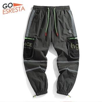 Goesresta Tide Brand Reflective Cargo Pants Men Hip Hop Joggers Streetwear Trousers Casual Loose Harajuku Track Pants For Men goesresta 2020 tide brand men down jacket 90
