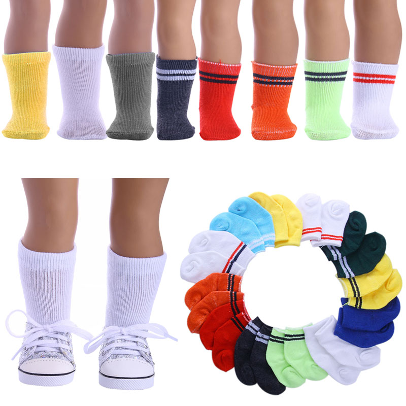 Doll 14 Styles Solid / Striped Socks For 18-inch American Dolls & 43Cm Born Baby Generation Christmas Birthday Girl's Toy Gift