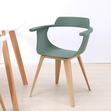 modern dining room chair shell lounge colorful plastic chair for kitchen dining bedroom study living room chairs 4 pcs Nordic INS Handrail Plastic Chair Dining Chairs for Dining Rooms Restaurant Furniture Living Room Kitchen Bedroom Plastic Chairs