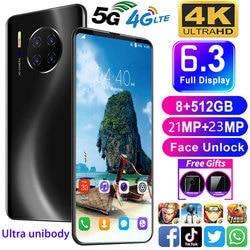 2021 Universal Mate30 6.3 Inch Screen 10GB+512GB Android Smartphones 5G LET Fingerprint Unlock MTK6799 10-Core Mobile Phone