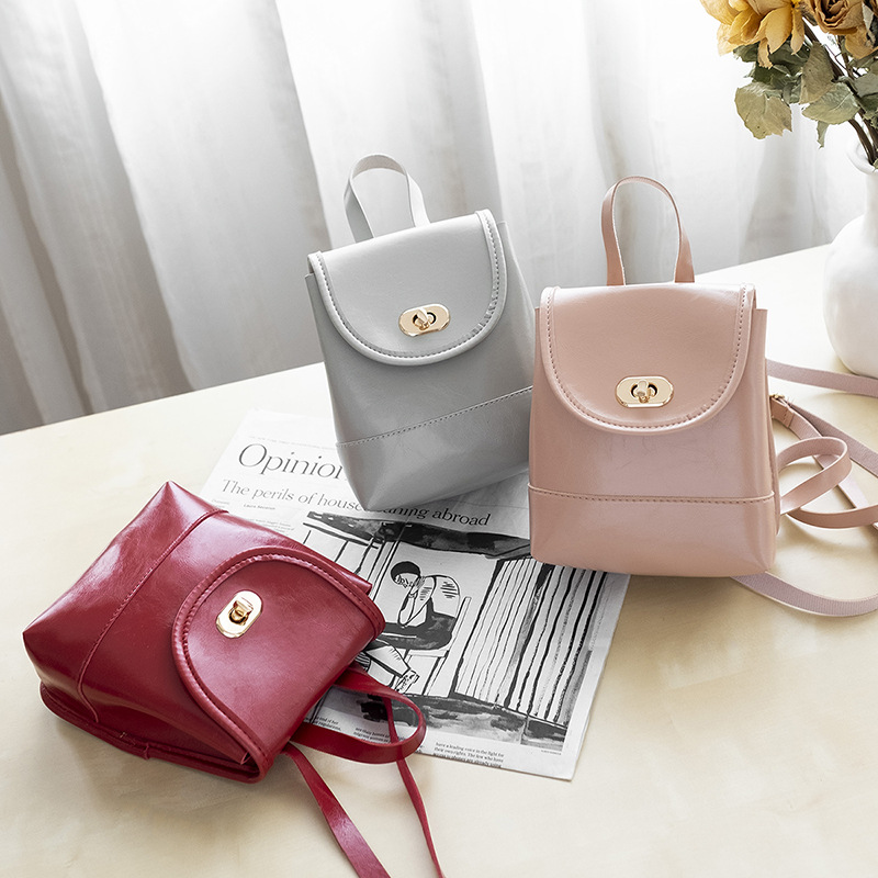 Casual Mini Women Backpack PU Leather Oil Skin Mini Bucket Bag For Travel Students School Bag Fashion Ladies Laptop Woman