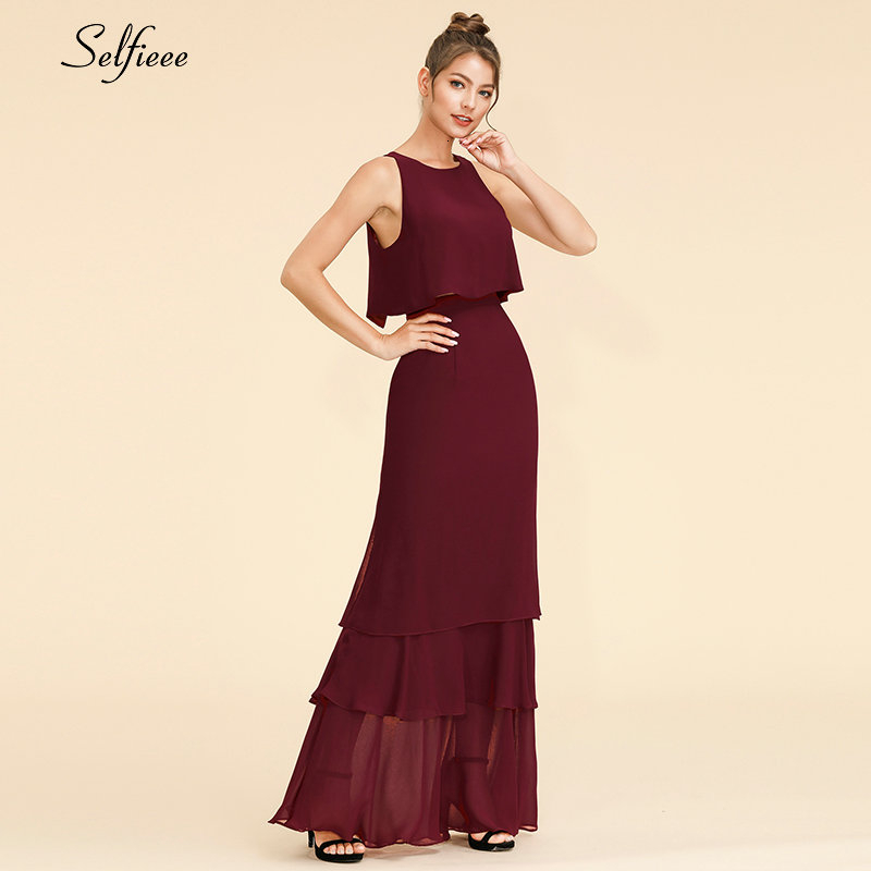 New Fashion Two Piece Women Dress A-Line O-Neck Sleeveless Ruffles Layers Chiffon Dress Elegant Maxi Party Dress Roupa Feminina