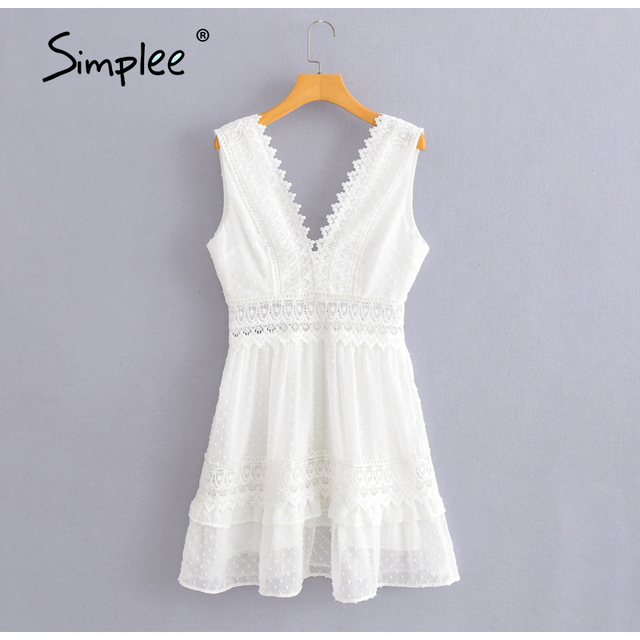 Simplee Sexy V-neck White Stitching Mini Dress Casual Sleeveless Lace Summer Women Beach Dress Backless Embroidered A-line Dress 5