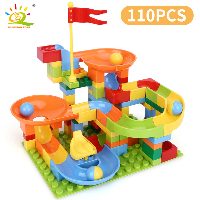 HUIQIBAO 110PCS Ball Run Race Track Duploed size large Building Blocks Big Bricks Set with baseplate Children Assemble Toys
