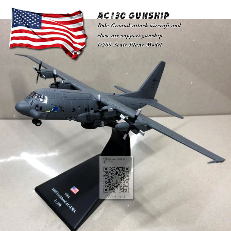 AMER 1/200 Scale Military Model Toys AC-130 Gunship Ground-attack Aircraft Fighter Diecast Metal Plane Model Toy For Collection