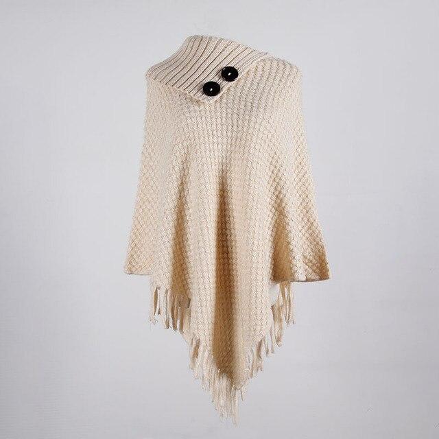 Korean Style Women Winter Furry Soft Loose Casual Tassel Cape Overcoat Knitted Sweater 6