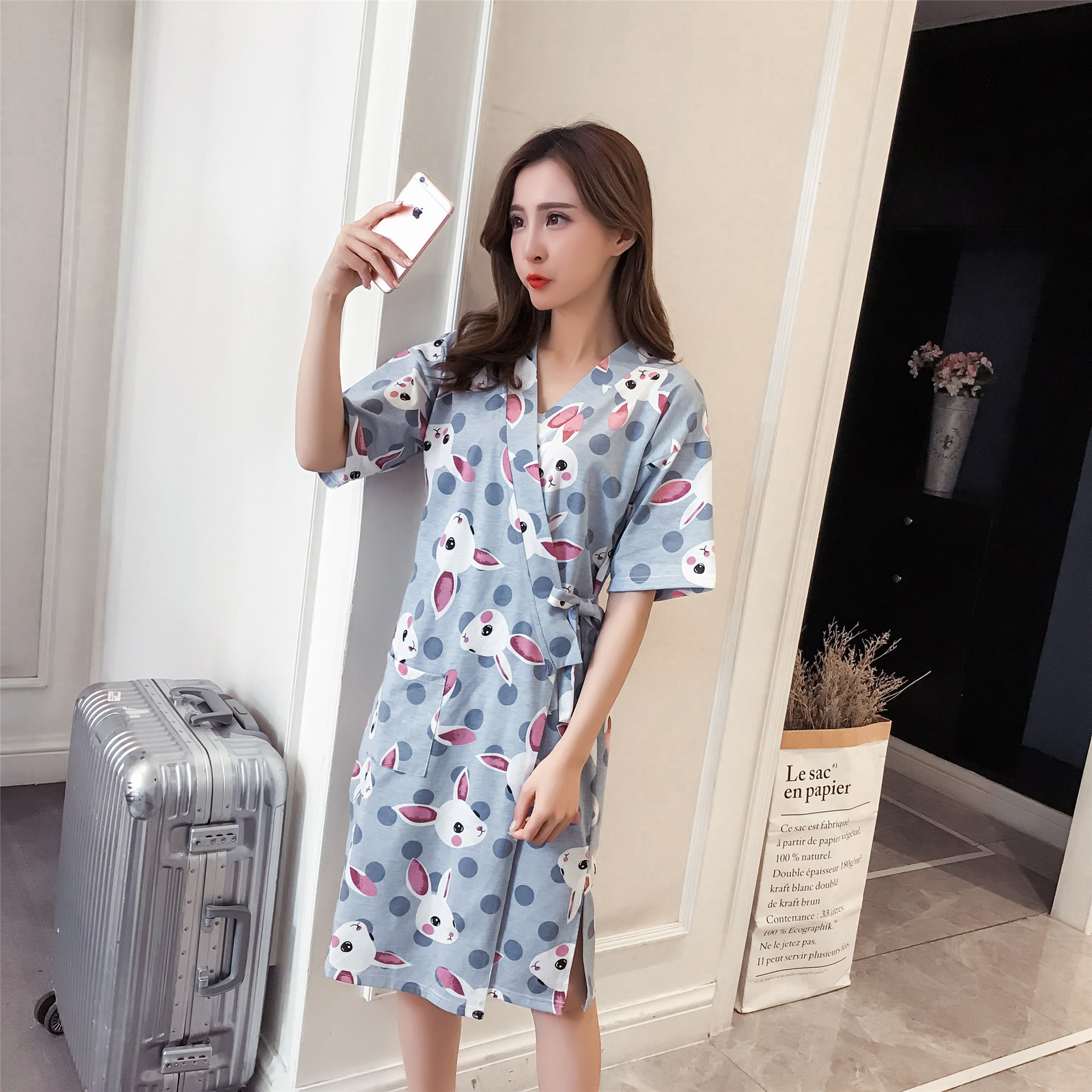 Women's Sleepwear Robes Hot Selling One-piece Thin and light WOMEN'S Summer Short Sleeved Cartoon Rabbit Knit Cotton