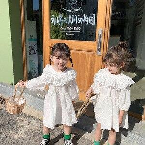 Весна 2020, детское хлопковое платье белого цвета, новое корейское белое кружевное платье для девочек, детские хлопковые платья с длинными ру...