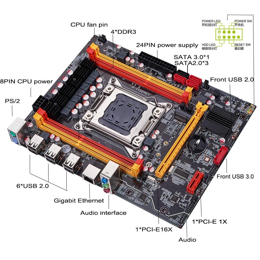 QIYIDA X79 motherboard LGA 2011 USB2.0 SATA3 Dual protocol m.2 support REG ECC memory and Xeon E5 processor DDR3 x79 6M 6