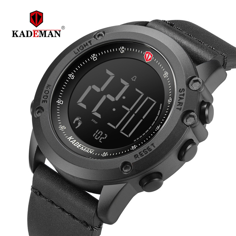 KADEMAN Men Watch Digital Military Sports Step Count Clock TOP Brand Luxury Leather Waterproof Fashion Male Wristwatches Relogio