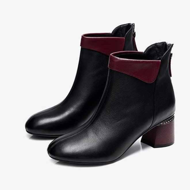 2019 kadın botları kış ayakkabı kadın yarım çizmeler kadın kışlık botlar Bota kadın patik PU deri kalın topuk çizmeler Botas Mujer