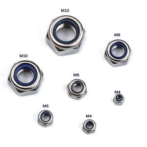Image 2 - ZENHOSIT 170 adet/takım naylon kilit somun bağlantı elemanı M3/M4/M6/M8/M10/M12 metrik diş paslanmaz çelik kendinden kilitli altıgen somun kiti