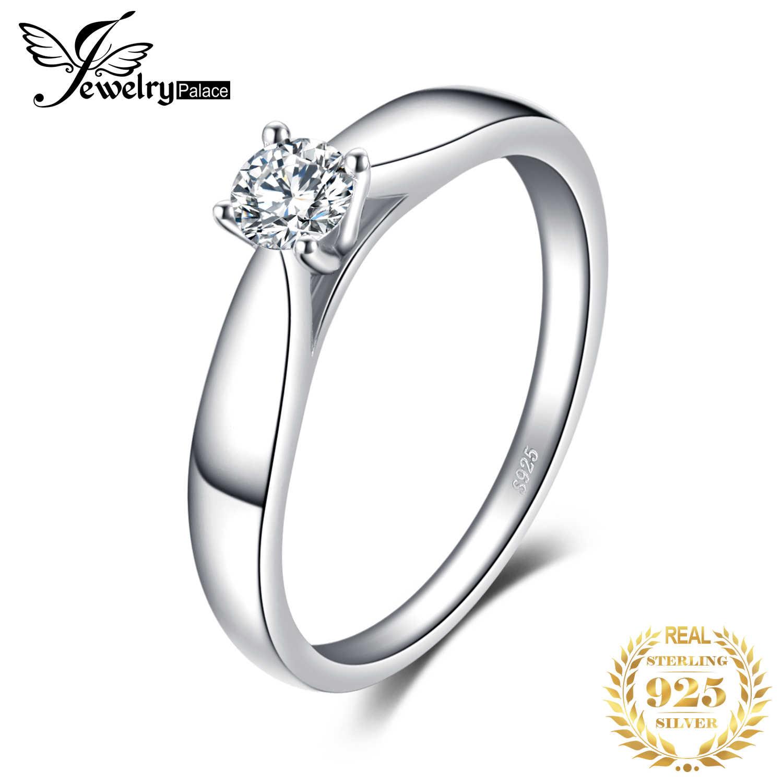 Jewelrypalace CZ Solitaire Cincin 925 Sterling Silver Cincin untuk Wanita Anniversary Cincin Pernikahan Cincin Perak 925 Perhiasan