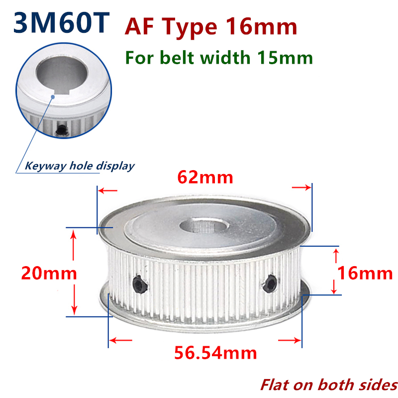 3M60T Timing Belt Pulley Gear Synchronous Wheel 6mm Bore For 15mm Belt Width Bore:6mm
