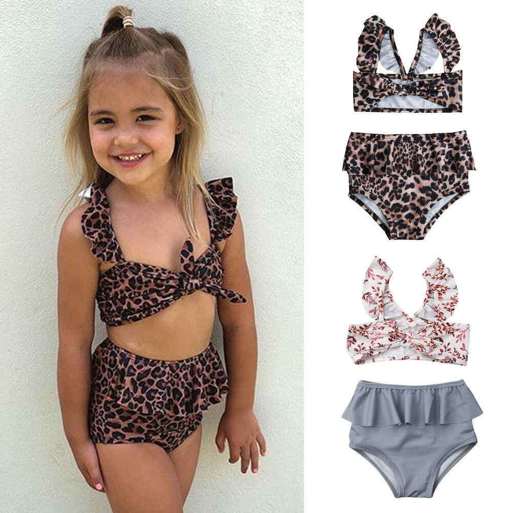 Anak Gadis Pinggang Tinggi Macan Tutul Bunga Renang Bikini Kostum Baju Renang Poliester Perban Swimsuit Beachwear