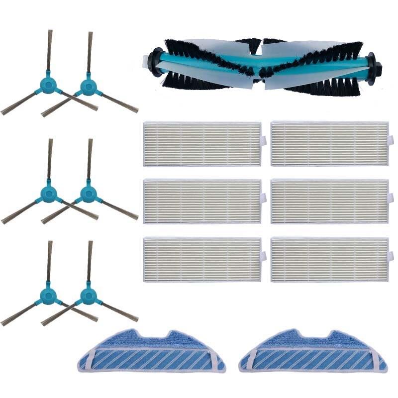 Poeira hepa filtro lateral escova mop almofada rolo escova para cocotec conga 1390 cocotec conga 1290 aspirador de pó robótico peças de reposição