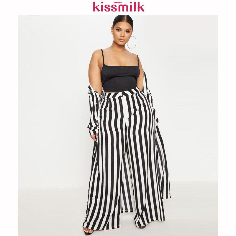 Kissmilk Pl Us Size Woman Clothes  Style High Waist Vertical Stripes Slim Casual Wide Leg Pants