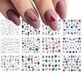 12 дизайнов, геометрические Слайдеры для ногтей, набор водных наклеек в стиле ретро, акварельные чернила, переводка ногтей, искусство