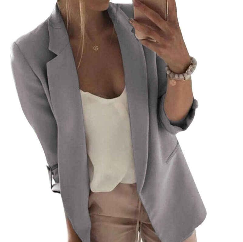 Kobiety pani na co dzień z długim rękawem szczupła marynarka garnitur jesień płaszcz kurtka robocza formalnym garnitur Plus rozmiar M-3XL różowy Blazers szybka wysyłka