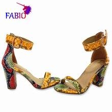 Square Heel Sandals Women Sandals Thick Block Heel Shoes For Women Peep Toe Summer High Heels Snake lines Sandals