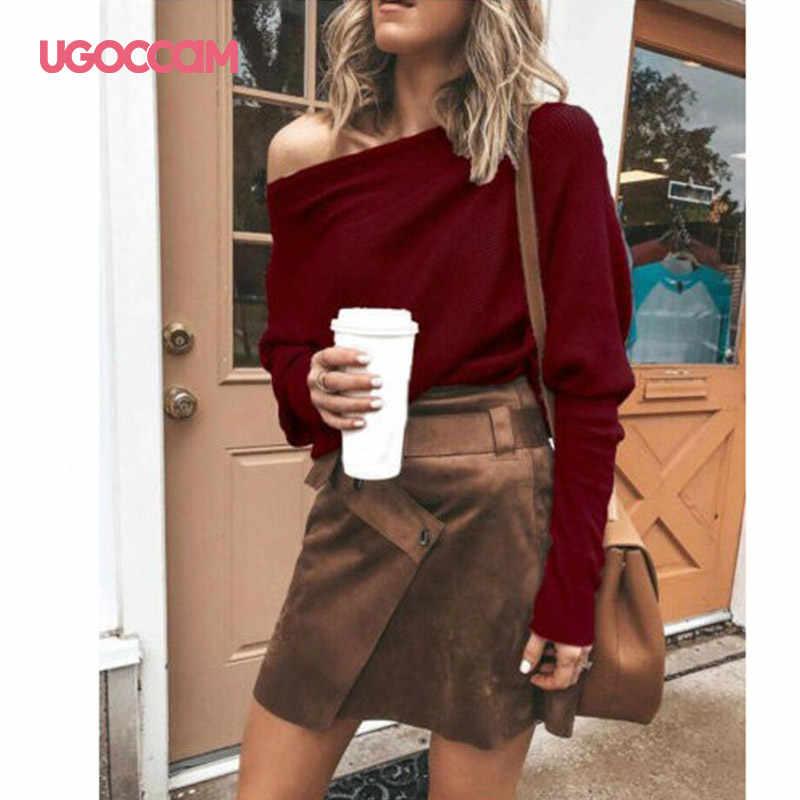 UGOCCAM kadın bluz sonbahar uzun kollu o-boyun artı boyutu gri gömlek Casual gevşek seksi üst ve bluz Streetwear kadın giyim
