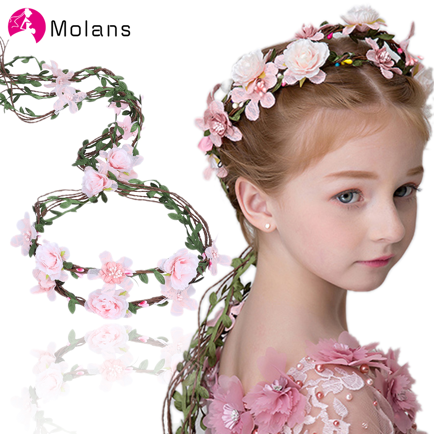 MOLANS Spring Varied Flower Crowns Bridal Adjustable Ribbon Headbands Solid  Floral Fruit Flower Garlands Bride Hair Accessories