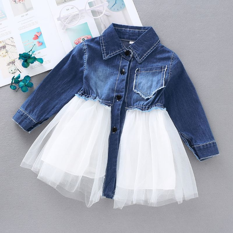 Autumn Toddler Girl Dresses Long Sleeves Baby Denim Patchwork Tutu Tulle Dress