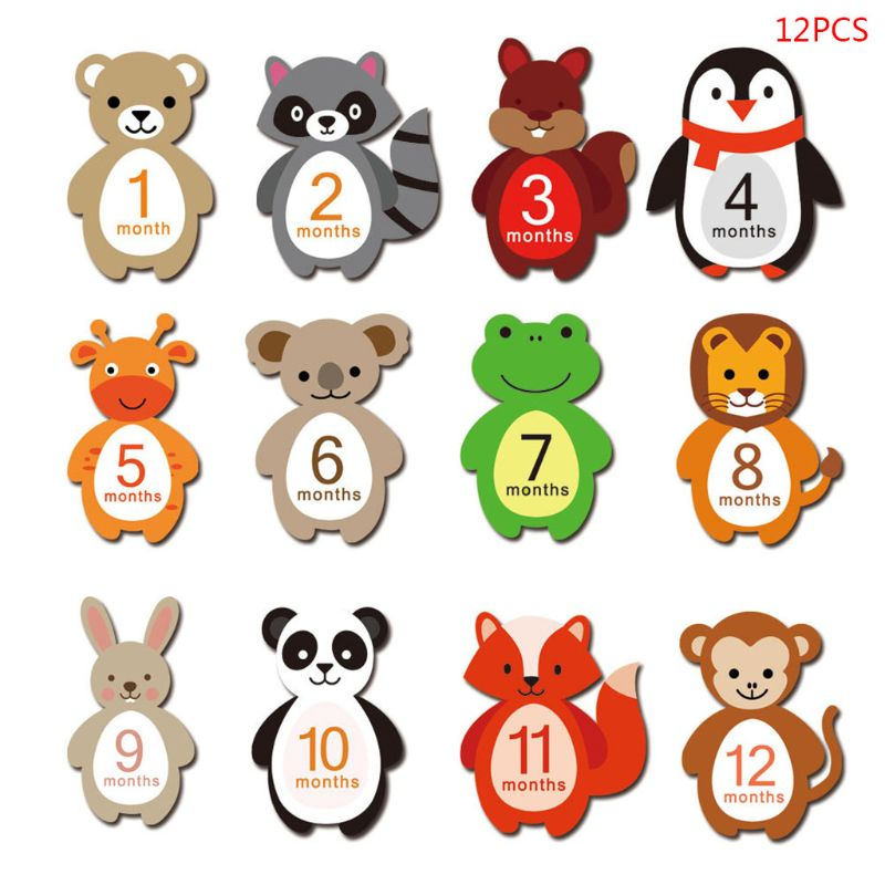 12 Sheets/set Cute Cartoon Animals Baby Monthly Milestone Stickers Belly Newborn Photography Props P