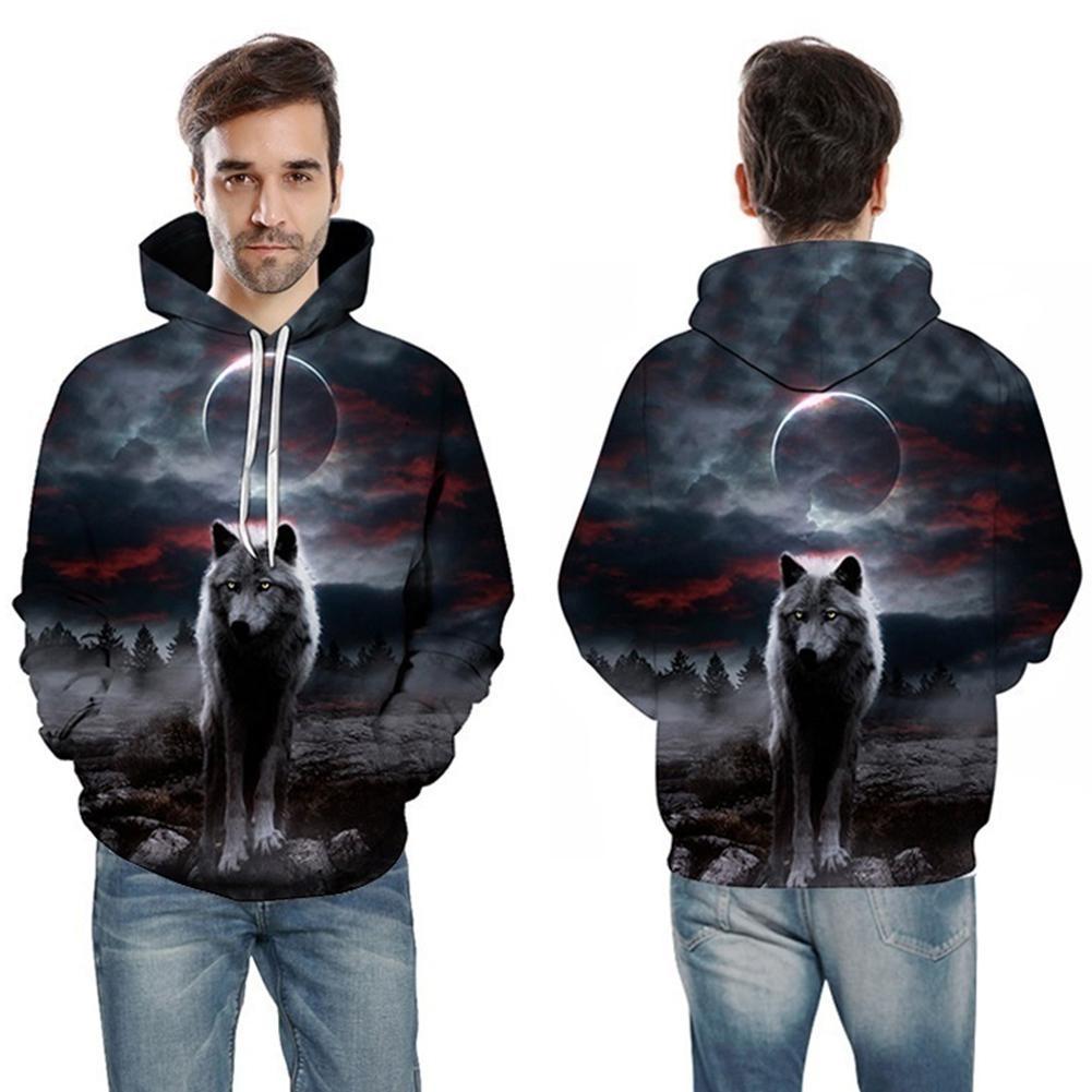 con cord/ón y dise/ño de lobo ZEZCLO Sudadera con capucha para hombre con bolsillo de canguro estilo informal