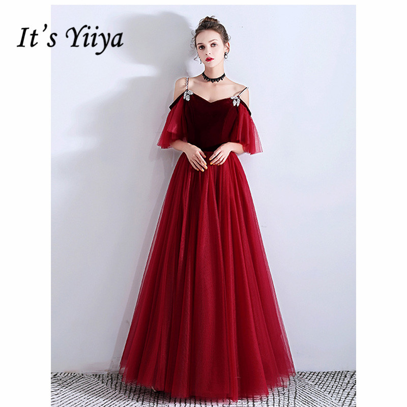 It's Yiiya Evening Dress 2019 Elegant Vintage Spaghetti Strap A-Line Floor Length Dresses Long Party Formal Gown Plus Size E1064
