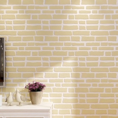 Modern Minimalist Nonwoven Fabric Brick Pattern Wallpaper 3D Bump Foaming White Brick Clothing Store Photography Background Wall