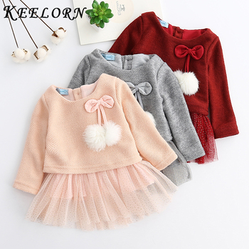 Keelorn Baby Girl Dress Princess 2020 New Spring Clothes Long Sleeve Fake 2 Piece Party baby girl clothes kids