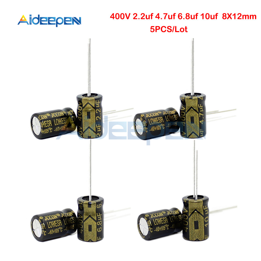 5PCS Aluminum Electrolytic Capacitor 400V 2.2UF 4.7UF 6.8UF 10UF 8X12mm High Frequency Low ESR