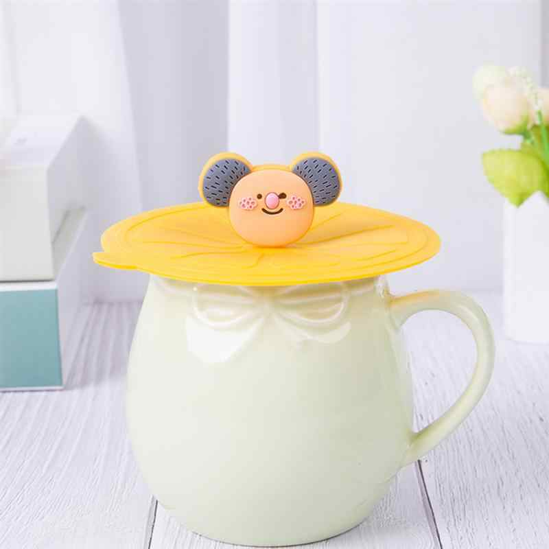5pcs Cartoon סיליקון גביע מכסים נגד אבק איטום ספל כיסוי ידידותי לסביבה לשתות כוס מכסה (מעורבים צבעים)