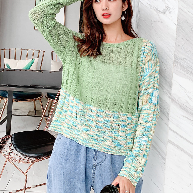 Focal20 Streetwear Hit Color Patchwork Geometric Women Sweaters Casual O-neck Female Crop Jumpers Slim Spring Autumn Lady Tops 1